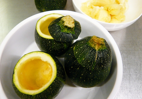 round courgettes ready for stuffing
